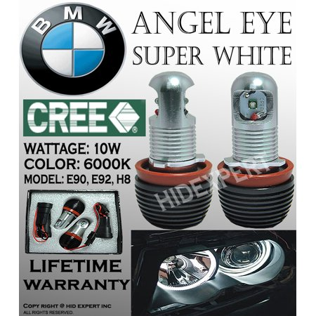 Light Bulb Rings - BMW ANGEL EYE HEAD LIGHT 10W CREE E92 H8 HALO RING LED BULBS XENON 6000K WHITE
