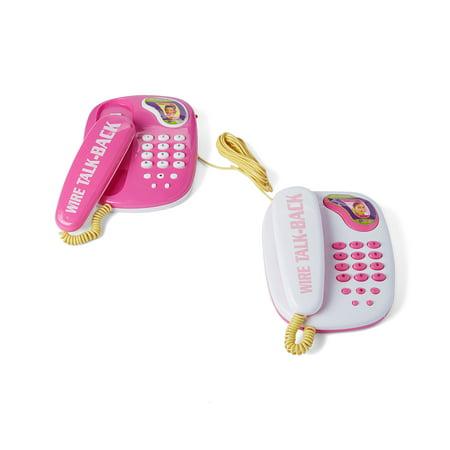 Pink Wired Intercom Children's Kid's Toy Telephone Set w 2 Telephones