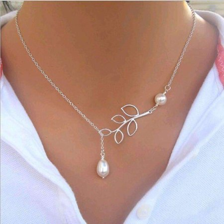 CLEARANCE - Pearl Droplet Thread Necklace Silver](Bridal Pearl Necklace)