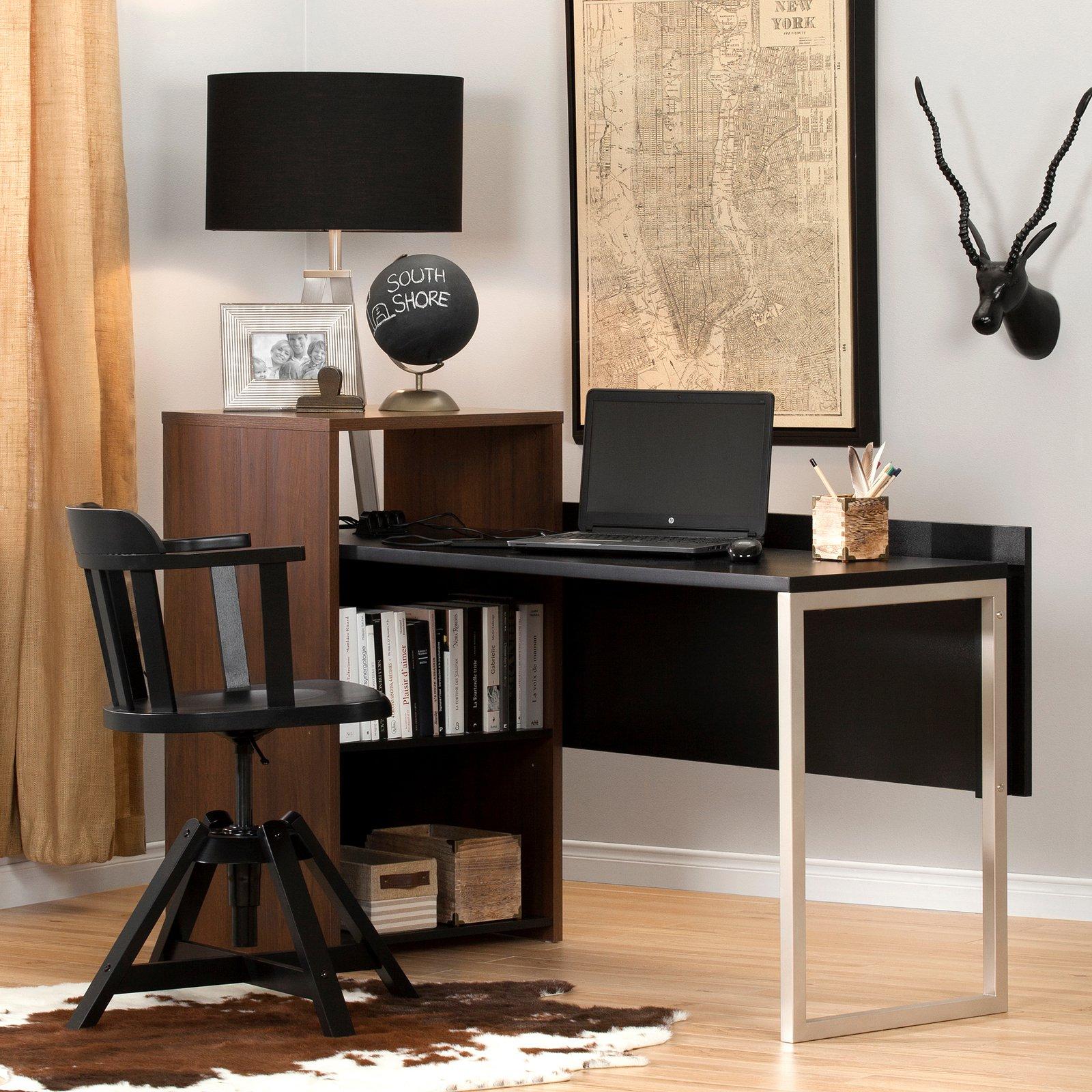 South Shore Tasko Desk with Storage, Brown Walnut and Black
