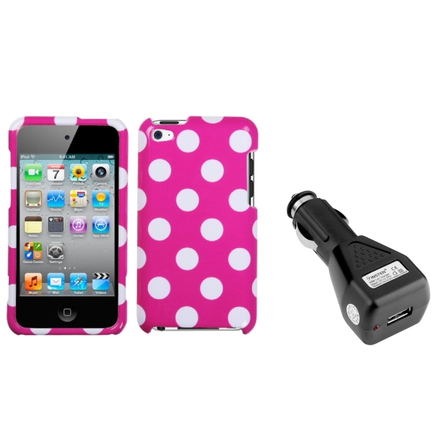 Insten White Polka Dots/Hot Pink Phone Case For iPod Touch 4 + USB Car Charger