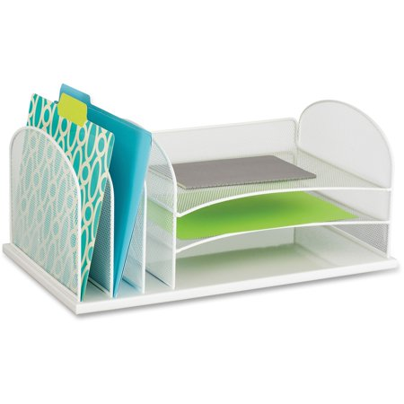 Safco, SAF3254WH, Onyx 3 Tray/3 Upright Section Desk Organizer, 1 Each, White