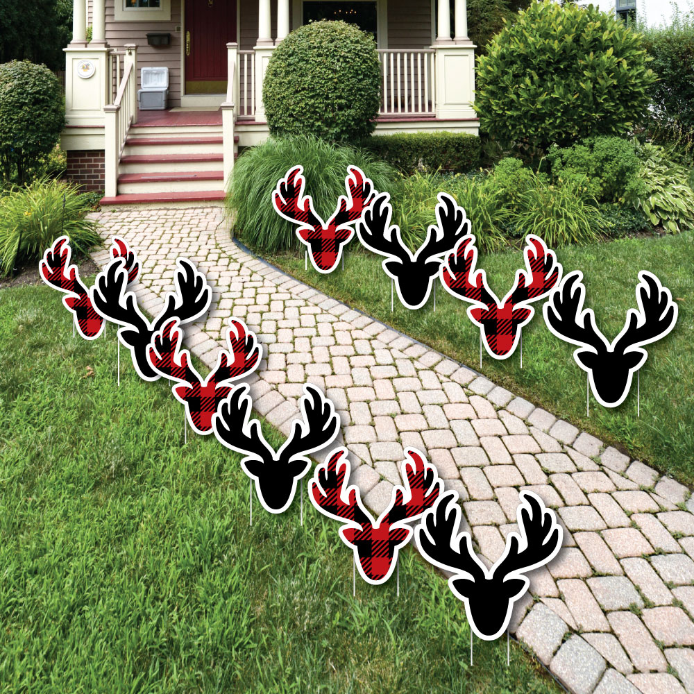 Prancing Plaid - Reindeer Lawn Decorations - Outdoor Christmas & Holiday Buffalo Plaid Yard Decorations - 10 Piece