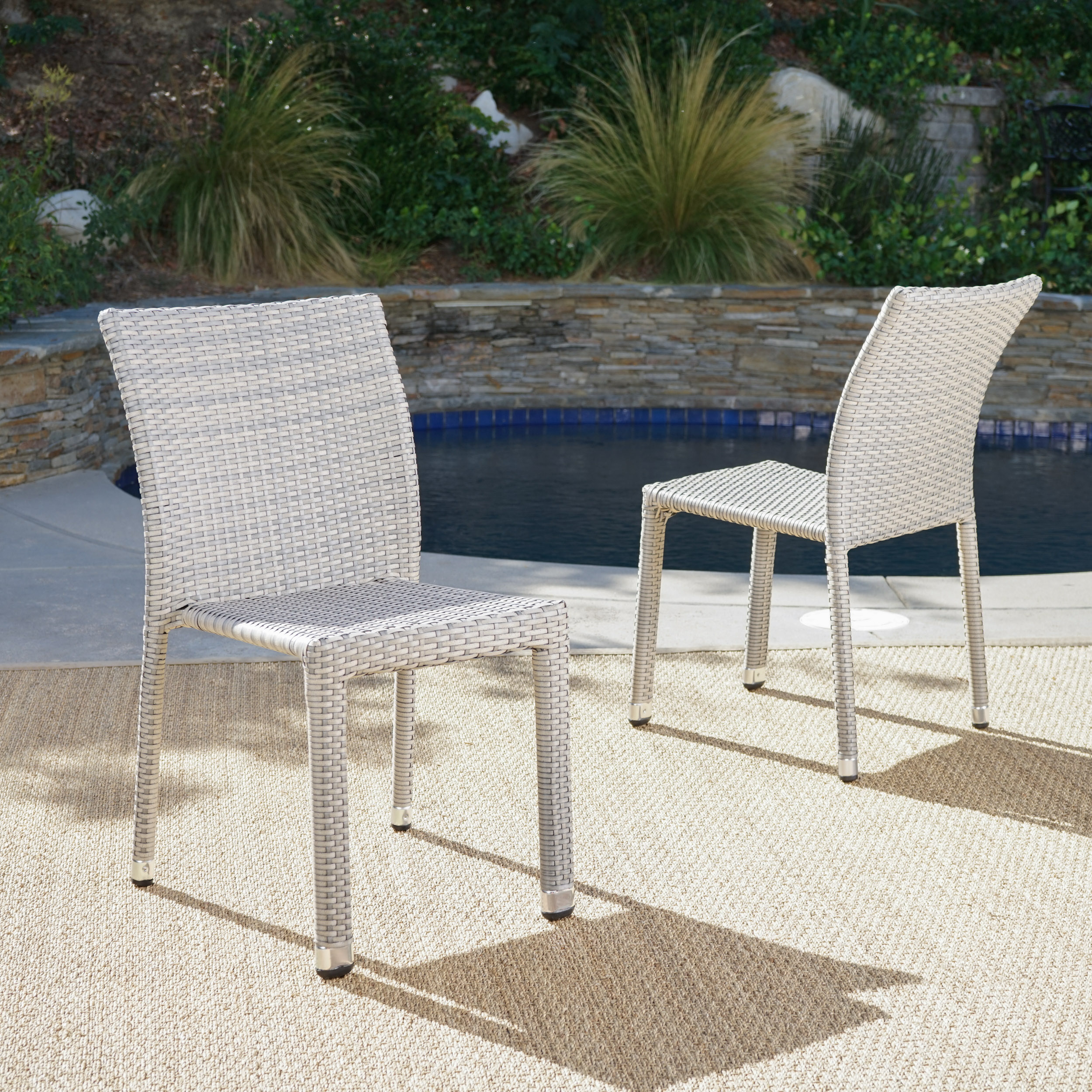 Dorside Outdoor Wicker Armless Stacking Chairs with Aluminum Frame, Set of 2, Chateau Grey