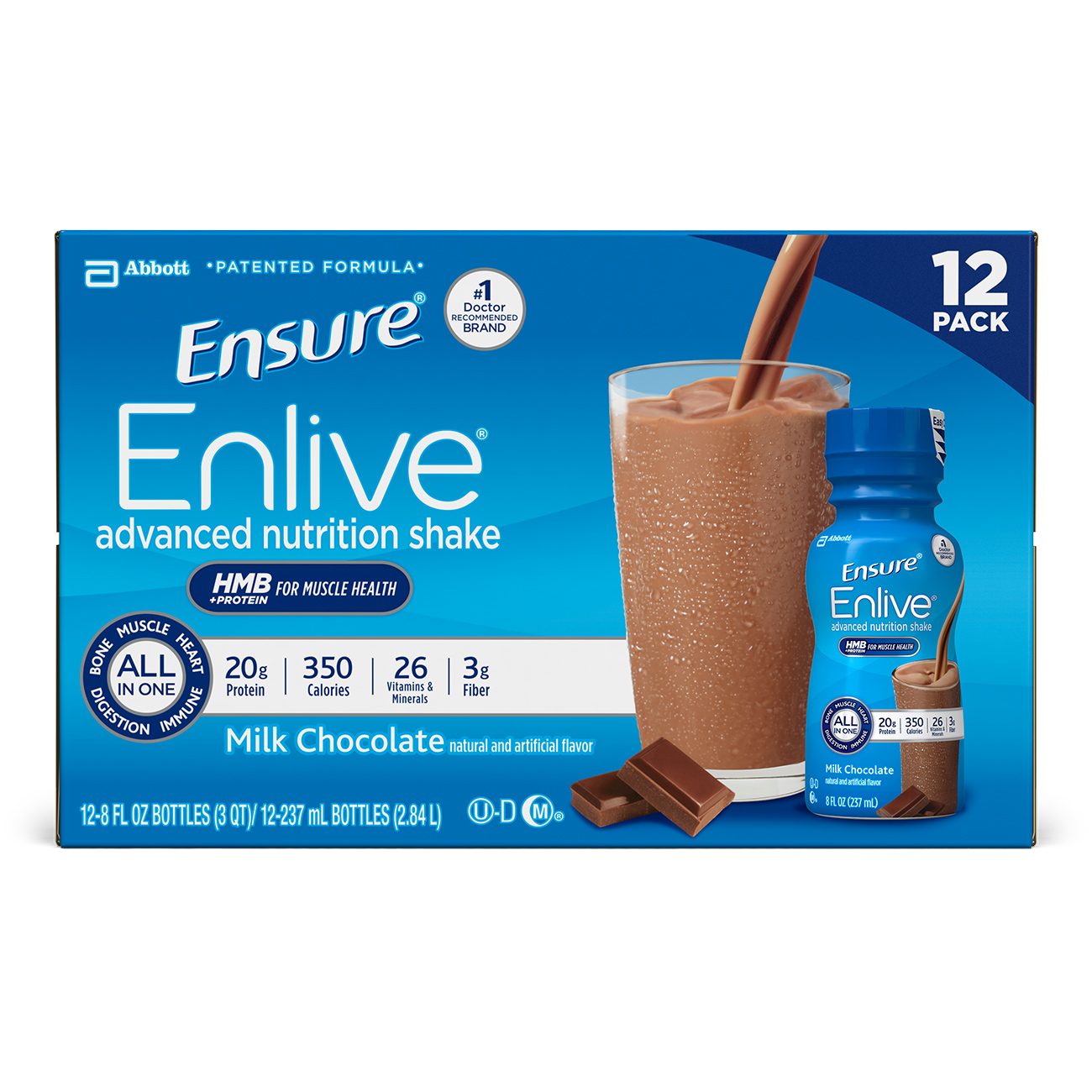 Ensure Enlive Advanced Nutrition Shake with 20 grams of High-Quality protein, Meal Replacement Shakes, Milk Chocolate, 8 fl oz, 12 count