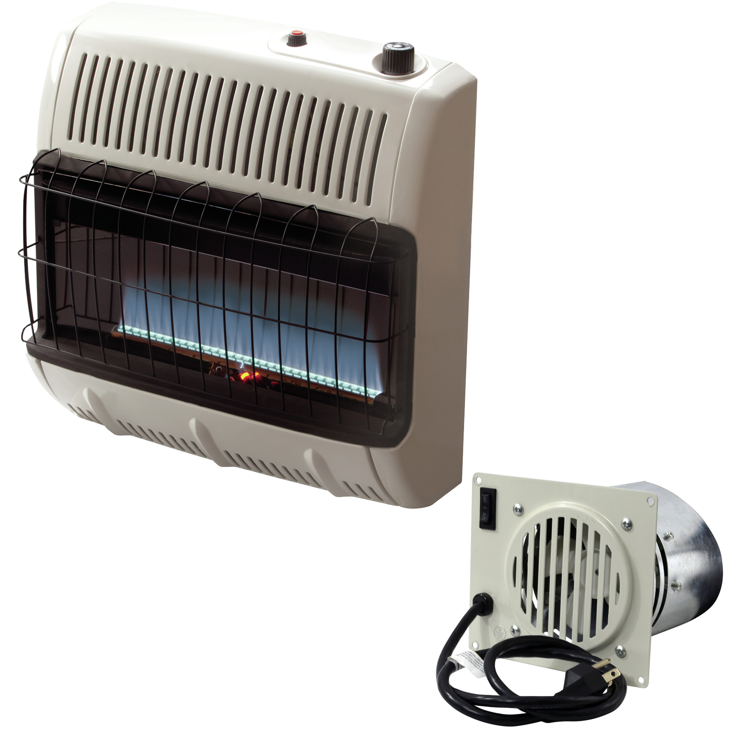 Mr. Heater Vent Free Flame 30k BTU Propane Heater (Blue) + Mr. Heater Corporation Vent Free Blower Fan Kit