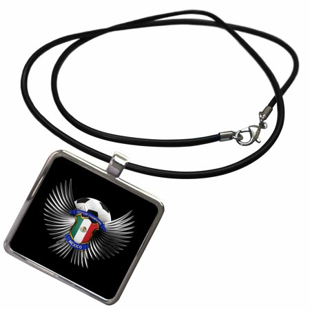 3dRose Mexico soccer ball with crest team football Mexican - Necklace with Pendant (ncl_159472_1)