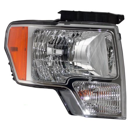 Passengers Halogen Headlight Headlamp with Chrome Trim Replacement for Ford Pickup Truck DL3Z13008A