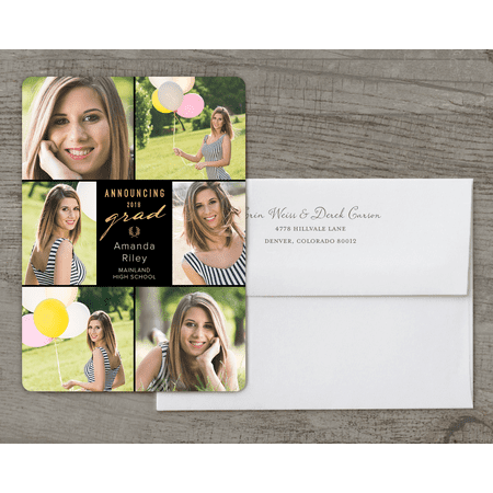 Classic Stripes Deluxe Graduation Announcement](Graduation Announcements 2017)