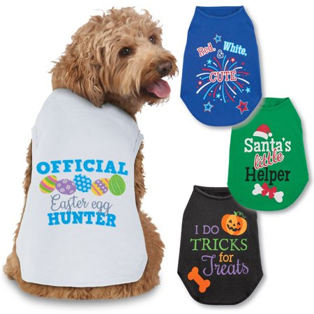 Seasonal Cheer Dog Tee Shirts Set of 4 - Halloween, Christmas, Easter, 4th of July, Large](Halloween T Shirts For Dogs)