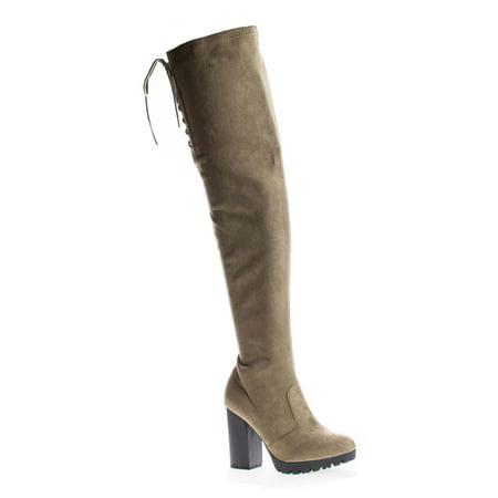 Kimber09 by Wild Diva, Thigh High Corset Shaft Lug Sole Platform Block Heel (Shaft Platform Boot)
