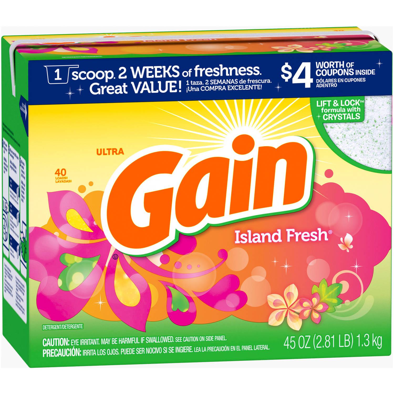 Gain Powder Laundry Detergent Island Fresh, 40 Loads, 45 oz
