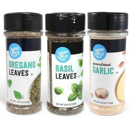 Amazon Brand - Happy Belly Mediterranean Spices Set: Oregano, Basil, Granulated Garlic