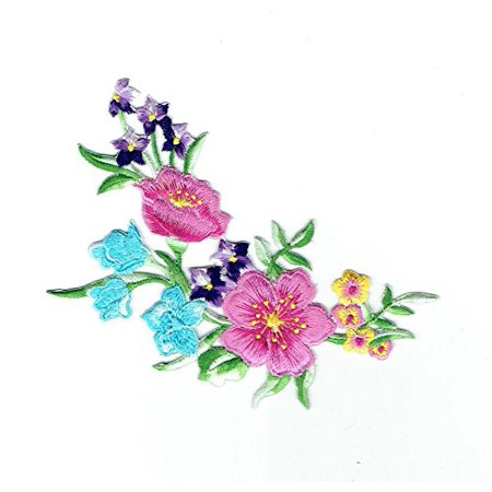 Flowers - Floral Arrangement - Blue/Pink/Purple/Yellow/Green - Iron on Applique/Embroidered Patch (White Floral Applique)