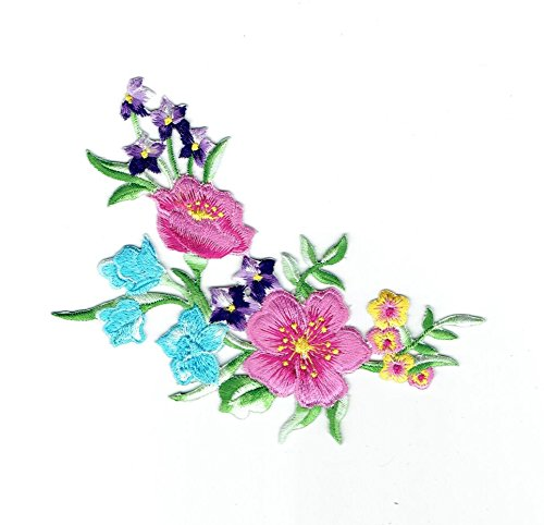 Flowers - Floral Arrangement - Blue/Pink/Purple/Yellow/Green - Iron on Applique/Embroidered Patch