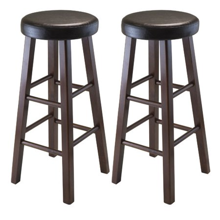 Vinyl Cushion Seat Bar Stool (Winsome Wood Marta Cushion Seat Bar Stools, 2PC, Espresso & Walnut)