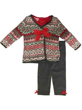 Infant Girls Christmas Tee Shirt & Cross Stitch Sweater Snowman 3 Piece Outfit