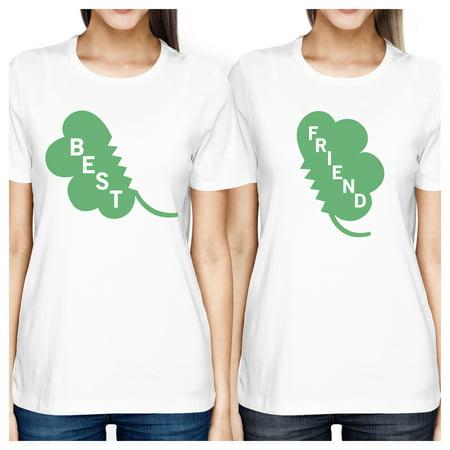 Best Friend Clover Womens White Cute Marching Shirt St Patricks