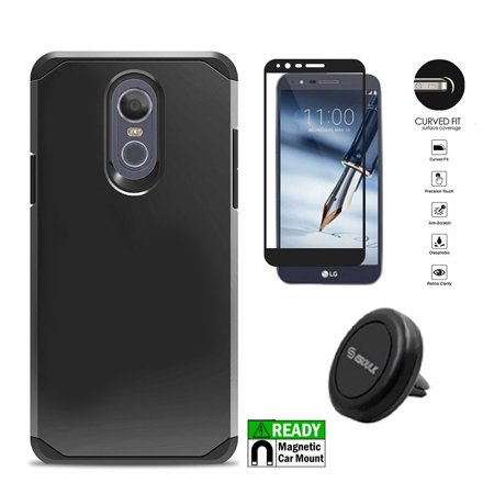Phone Case for LG Stylo 4, LG Stylus 4, Hybrid Shockproof Slim Hard Cover Protective Case + Tempered Glass Screen Protector + Air Vent Magnetic Car Mount Phone Holder (Black)