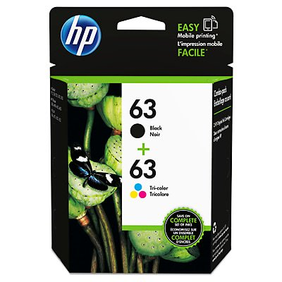 HP 63 | 2 Ink Cartridges | Black, Tri-color | F6U61AN, F6U62AN 3 Ink Photo Black Cartridge