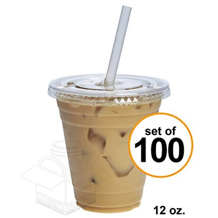COMFY PACKAGE 100 Sets 12 oz. Plastic CRYSTAL CLEAR Cups with Flat Lids for Cold Drinks, Iced Coffee, Bubble Boba, Tea, Smoothie etc. (Clear Plastic Cups With Lids)