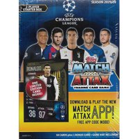 2019 2020 Topps UEFA Champions League Match Attax Soccer Trading Card Game Sealed Two Player Starter Box with 38 Cards and Game Mat Plus a Bonus Cristiano Ronaldo Limited Edition Super Squad Card