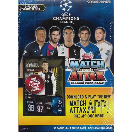 2019 2020 Topps UEFA Champions League Match Attax Soccer Trading Card Game Sealed Two Player Starter Box with 38 Cards and Game Mat Plus a Bonus Cristiano Ronaldo Limited Edition Super Squad Card 2 Trading Cards Hobby Box