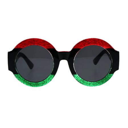 Stripe Glitter Pop Color Retro Thick Plastic Round Mod Sunglasses Red Black Green ()
