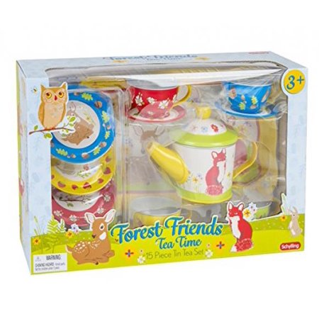 Scylling Forest Friends Tin Tea Set with Fun Express Polyester Tea Party Hat and Gloves Set](Tea Party Hats And Gloves)