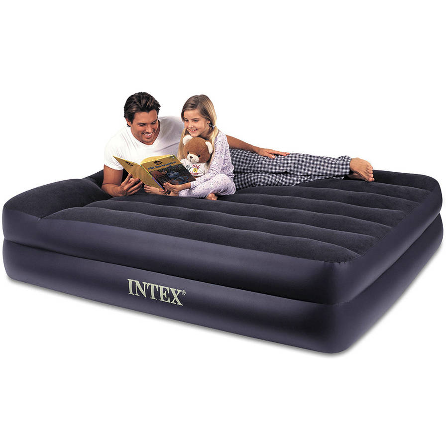 """Intex Queen 16.5"""" Raised Pillow Rest Airbed Mattress with Built-in Pump"""