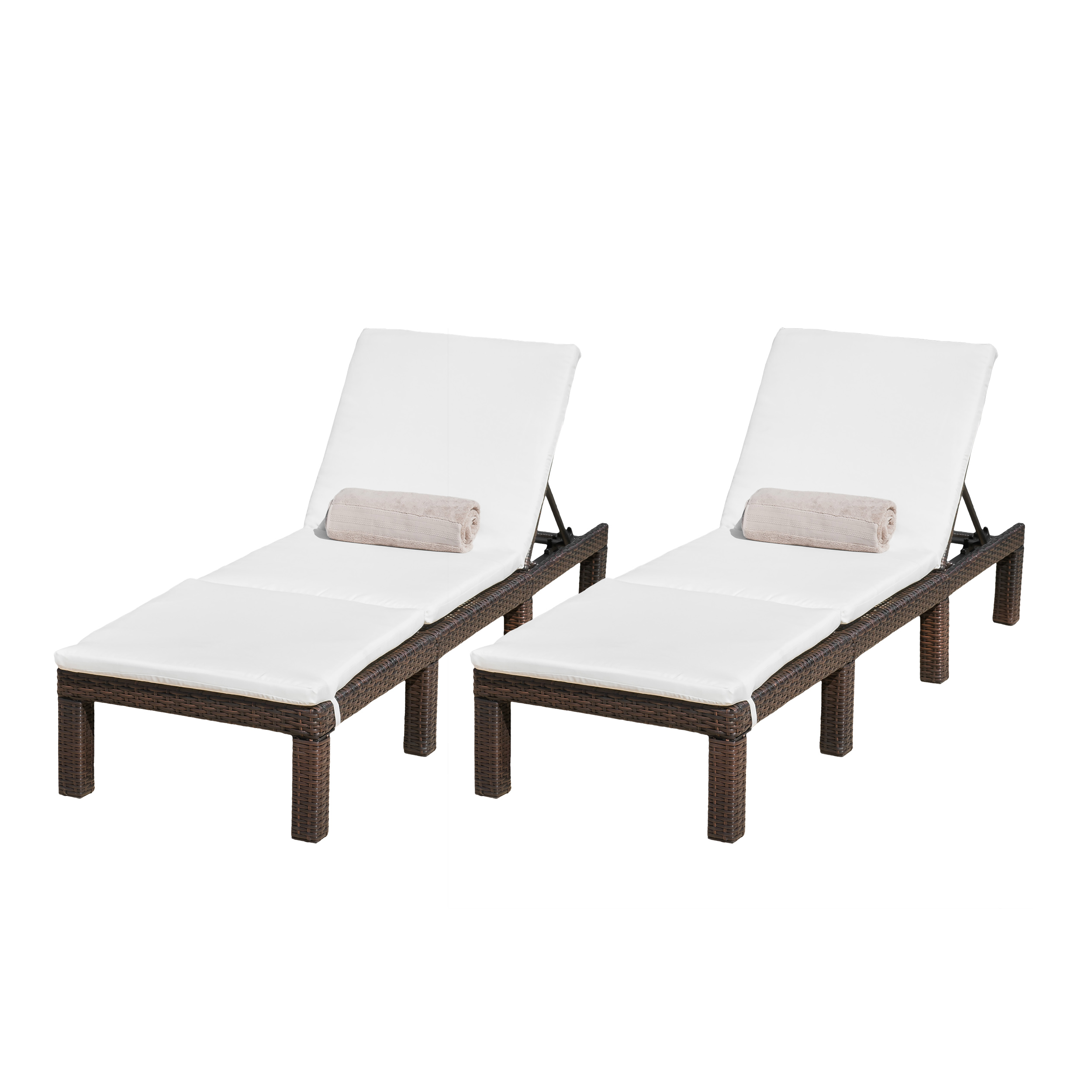 Aspen Outdoor Wicker Adjustable Chaise Lounges with Cushions (Set of 2) by GDF Studio