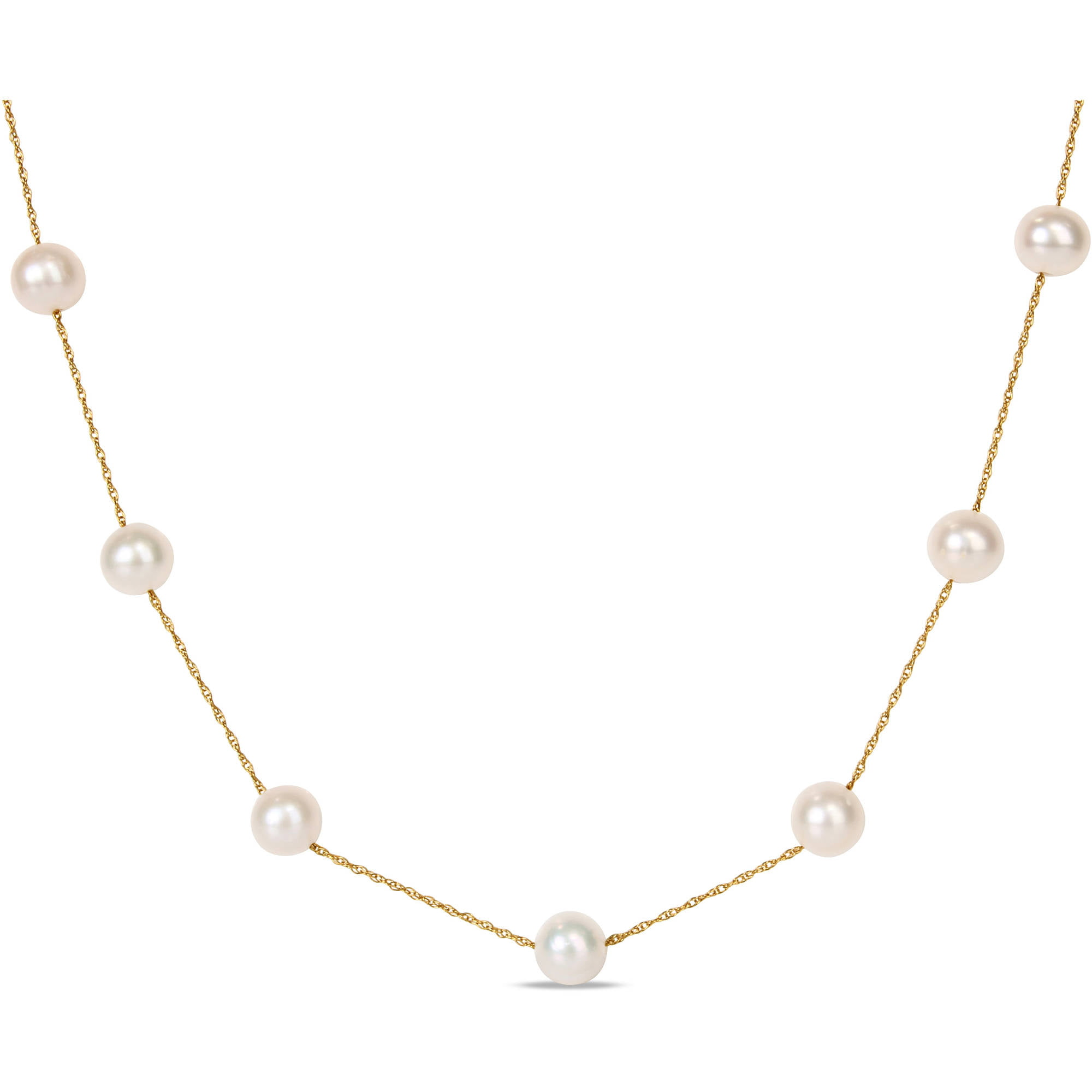 "Miabella 7-8mm White Cultured Freshwater Pearl 10kt Yellow Gold Tin-Cup Necklace, 17"" by Miabella"