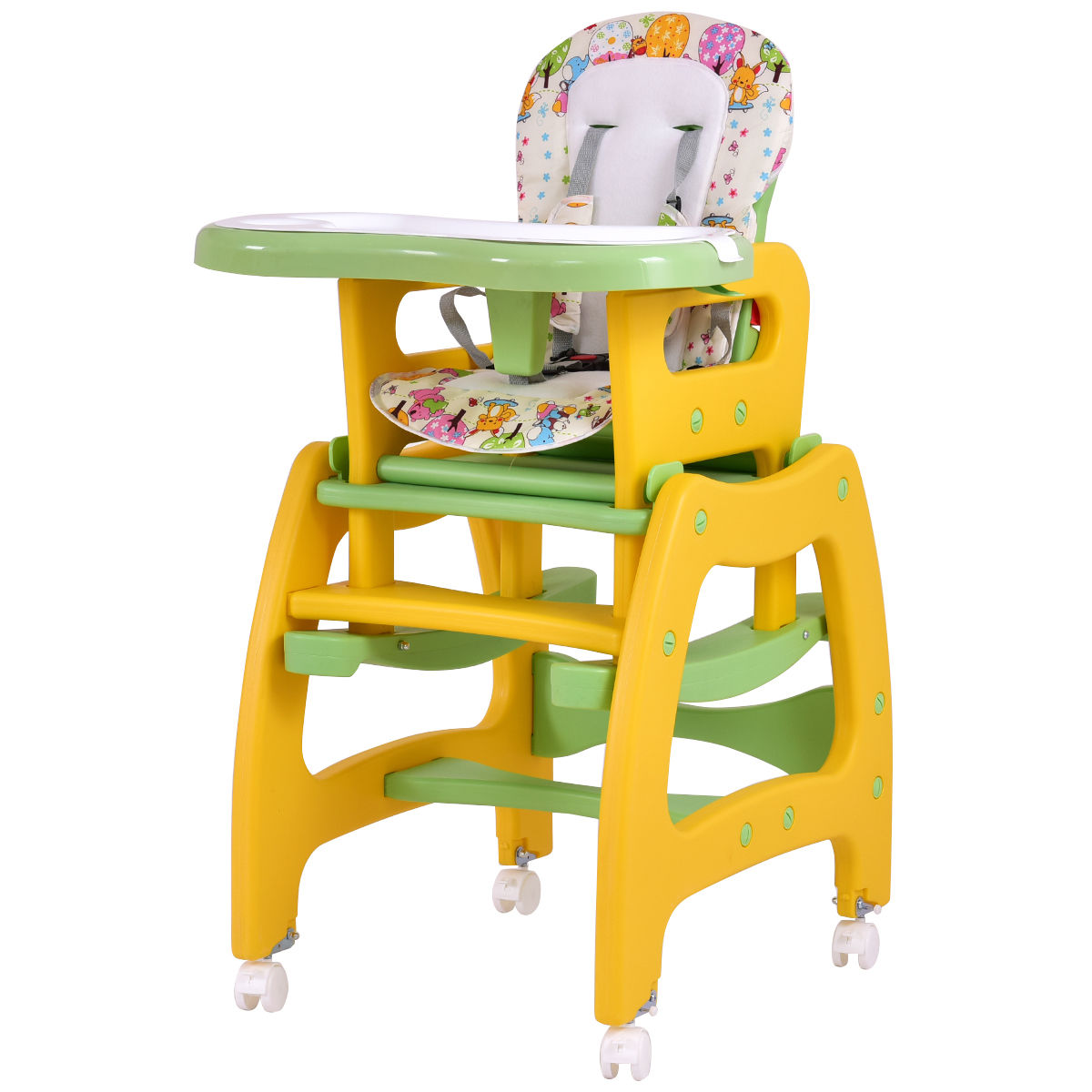 Click here to buy GHP Yellow & Green PP & Fabric Multi-functional Baby High Chair w Lockable Wheels by Globe House Products.