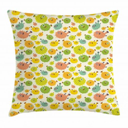 Fish Throw Pillow Cushion Cover, Funny and Colorful Pufferfish Characters in Cartoon Style Aquatic Life Aquarium Animal, Decorative Square Accent Pillow Case, 20 X 20 Inches, Multicolor, by Ambesonne