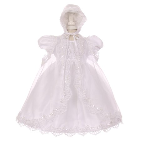 Baptism Bonnet - Little Girls White Sequin Pearl Baptism Christening Cape Bonnet Dress Set