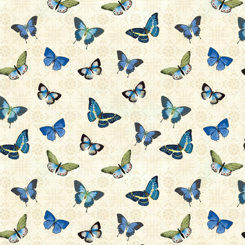 """David Textiles Wild Apple """"Blue Butterflies"""" Fabric by the Yard, 44""""W"""