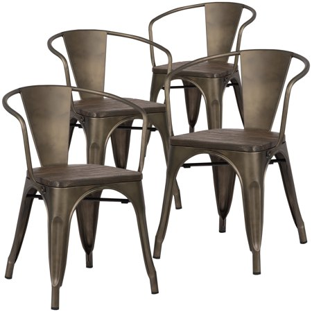Poly and Bark Trattoria Arm Chair with Elm Wood Seat in Bronze (Set of 4)