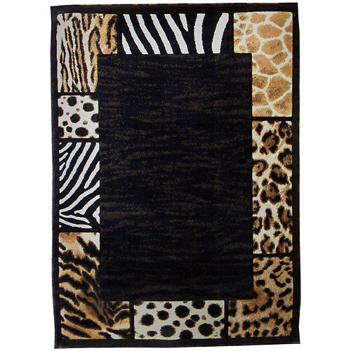 DonnieAnn Company Skinz 73 Mixed Brown/Black Animal Skin Prints Patchwork Border Area Rug