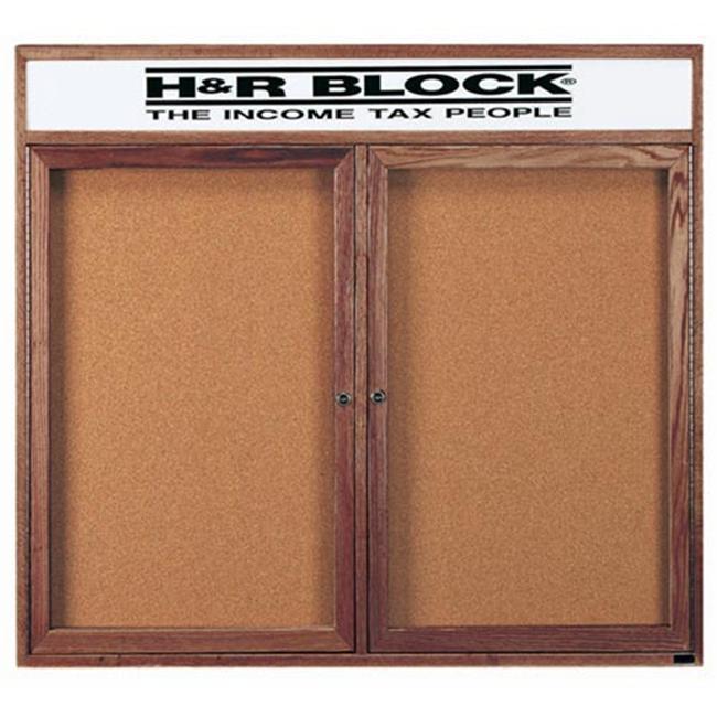 Aarco Products WBC4860RH 2-Door Enclosed Bulletin Board with Header - Walnut