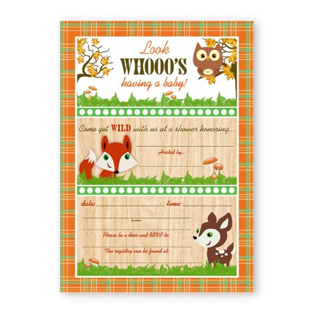 Woodland Critters Shower LARGE Invitations - 10 Invitations 10 Envelopes