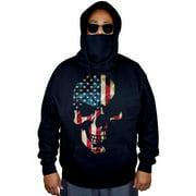 Men's Americana Skull Black Mask Hoodie Sweater X-Large Black