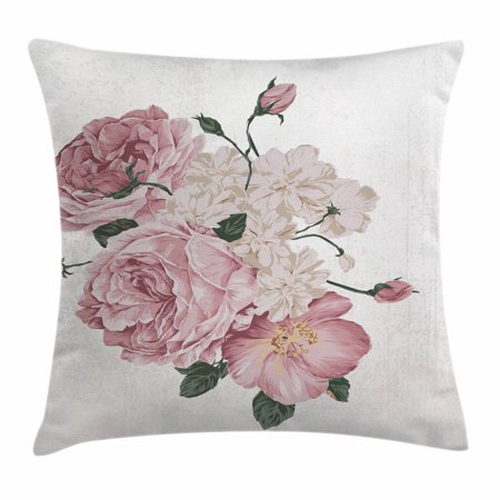 Rose Throw Pillow Cushion Cover, Old Vintage Roses Corsage on Grunge Background Antique Romantic Springtime Art, Decorative Square Accent Pillow Case, 16 X 16 Inches, Beige Rose Green, by Ambesonne