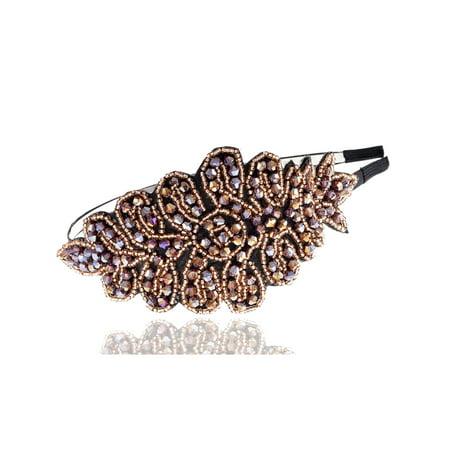 Princess Subtle Peach Coral Flourish Leaf Crystal Bead Big Fashion Hair - Big Headbands