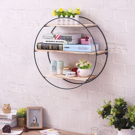 Solid Wood Wall Shelves Shelf Retro Style Round Metal Home & Living Rack Storage For Home Bedroom Decoration