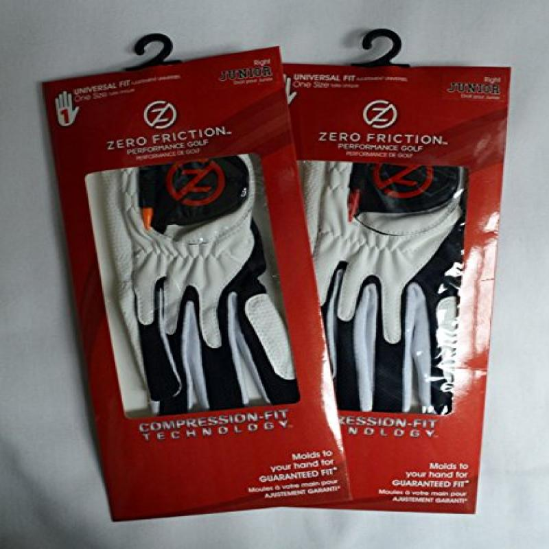 2 Zero Friction Junior Golf Gloves, One Size, Right Hand, White