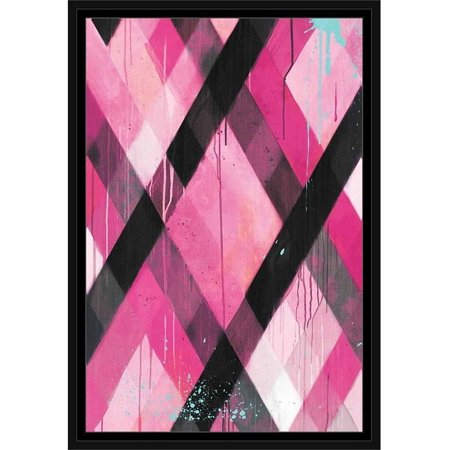 Drip Splatter Diagonal Line Grid Contemporary Modern Trendy Abstract Painting 1 Pink & Black, Framed Canvas Art by Pied Piper Creative ()