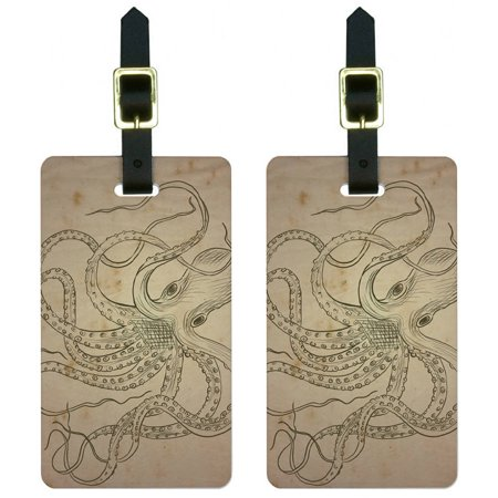 Graphics and More Vintage Ink Drawn Octopus Sea Monster Tattoo Luggage Tags Suitcase ID, Set of 2 - Sea Tattoo