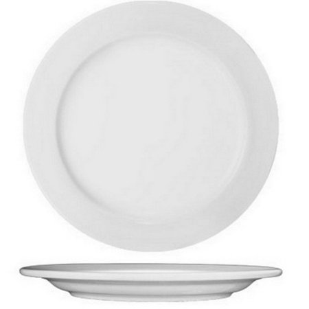 "International Tableware Porcelain Round Wide Rim Plate European White, 10.5"" Diameter 
