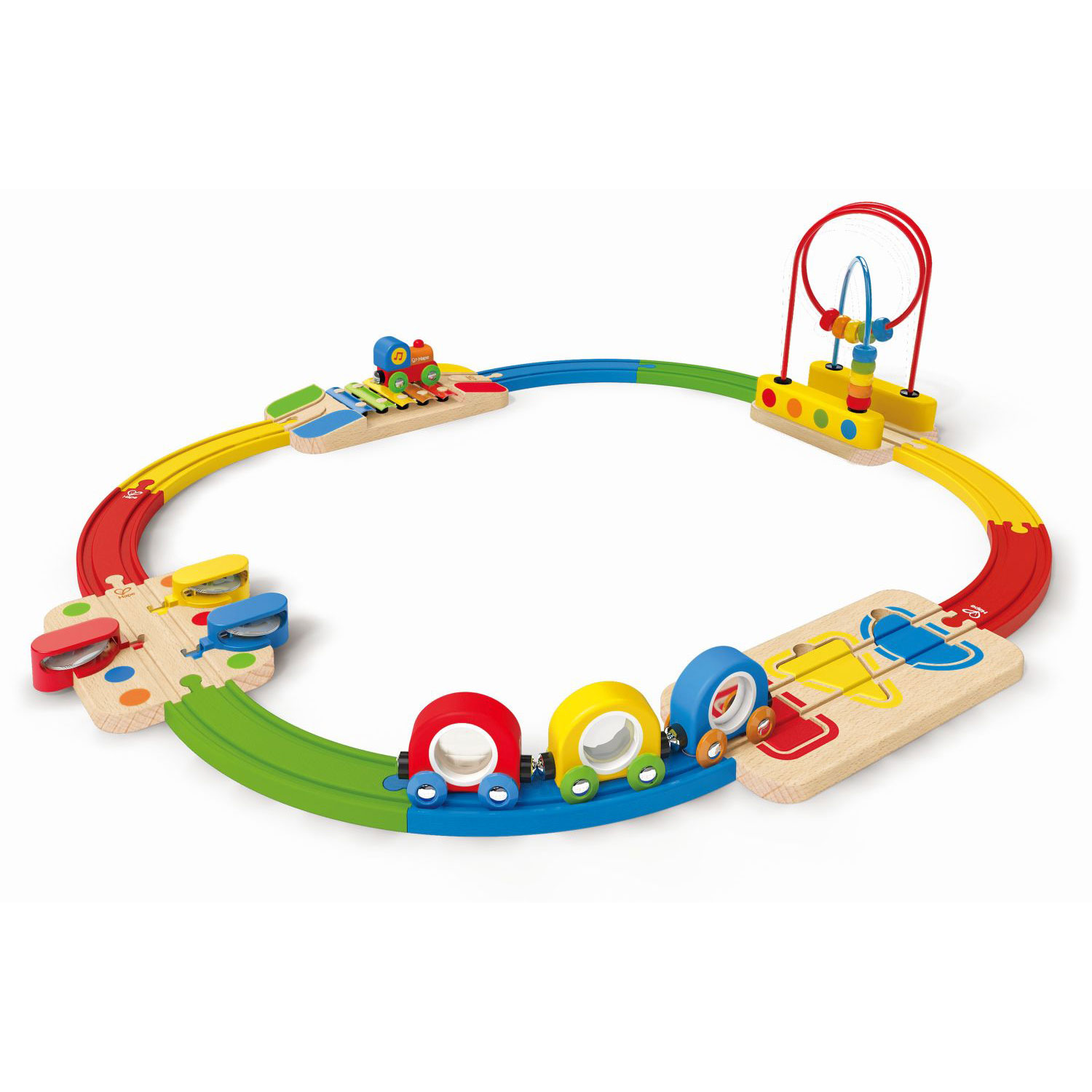 Hape E8124 Musical Rainbow Railway Kids Toy Wooden Train Play Set with Track