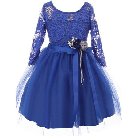 Little Girls Elegant Royal Floral Lace Illusion Top Satin Belt Flower Girl Dress Royal 4 (2J0K9S8)